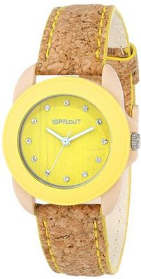 Sprout ST/1057YLCK Swarovski Crystal-Accented Yellow Cork Strap