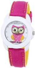 Sprout ST/1061MPDP Swarovski Crystal Accented Owl Dial Dark Pink Organic Cotton Strap