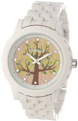 Sprout Unisex ST/6800TNWT Wood Dial White Corn Resin Bracelet Tree Bark Theme Dial