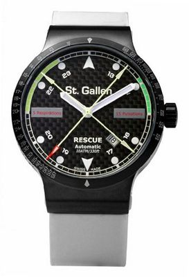 St. Gallen Disinfectable - Rescue Collection - Mechanical Automatic , Counters For Pulsation & Respiration Calibration, Carbon Fiber Dial