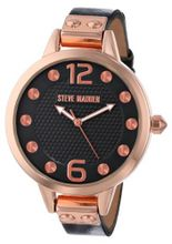 Steve Madden SMW00024-02 Rose Gold Case and Black Strap