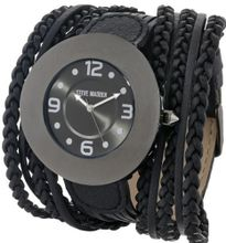 Steve Madden SMW00039-03 Black Faux Leather Braided Strap
