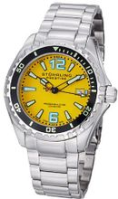 Stuhrling Original 382.331118 Prestige Swiss Regatta Captain Quartz Diver Date Yellow Dial