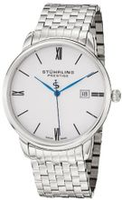 Stuhrling Prestige 307B.33112 Prestige Swiss Made Kingston Grand Quartz Date Ultra Slim Stainless Steel Bracelet
