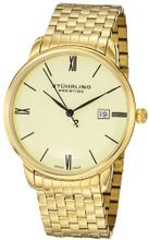 Stuhrling Prestige 307B.33332 Prestige Swiss Made Kingston Grand Quartz Date Ultra Slim Gold Tone Bracelet