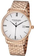 Stuhrling Prestige 307B.33442 Prestige Swiss Made Kingston Grand Quartz Date Ultra Slim Rose Tone Bracelet