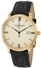"Stuhrling Prestige 307L.333515 ""Kingston"" 23k Gold-Plated with Black Leather Strap"