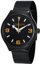 Stuhrling Original 184.335957 Aviator Falcon Eagle Elite Swiss Quartz Black Mesh Bracelet Orange Accent