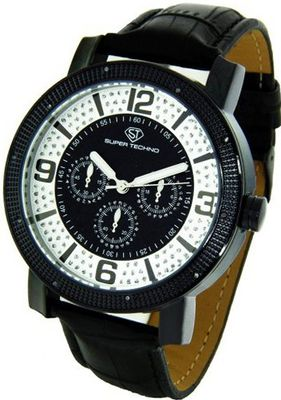 Super Techno Diamond by Joe Rodeo Genuine Diamond Oversized Black Case Leather Band w/ 2 Interchangeable Bands #M-6012