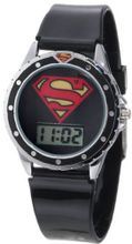 Superman Kids' SUP4019 Black Silicone Superman Logo Strap