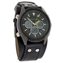 Structure By Surface Blk/Ylw Multi-Function Leather Strap Quartz 32672