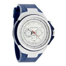 Structure by Surface Silver/Blue Rubber Strap White Dial 32550-104