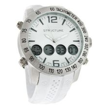 Structure By Surface White Multi-Function Analog/Digital Quartz 32611