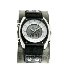 Structure by Surface XL 44mm Alarm Chrono Gray Leather Cuff 32478