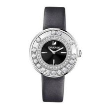 Swarovski Lovely Crystals Black Dial Anthracite Calfskin Leather Strap Quartz Ladies 1160306