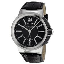Swarovski Piazza Grande Black Dial Calfskin Leather Strap Quartz 1094350