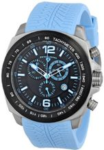 "Swiss Legend ""Sprinter"" Stainless Steel and Black Ion Plating Light Blue Silicone"