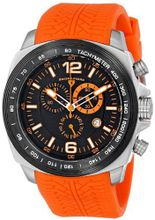 "Swiss Legend ""Sprinter"" Stainless Steel and Black Ion Plating Orange Silicone"