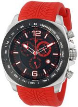 "Swiss Legend ""Sprinter"" Stainless Steel and Black Ion Plating Red Silicone"