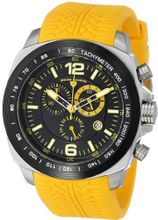 "Swiss Legend ""Sprinter"" Stainless Steel and Black Ion Plating Yellow Silicone"