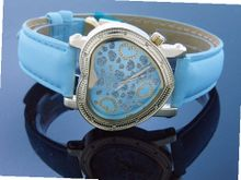 Swiss Master By Km Large Heart 12 Diamonds Blue