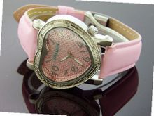 Swiss Master By Km Large Heart 12 Diamonds Pink