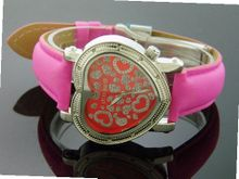 Swiss Master By Km Large Heart 12 Diamonds Red
