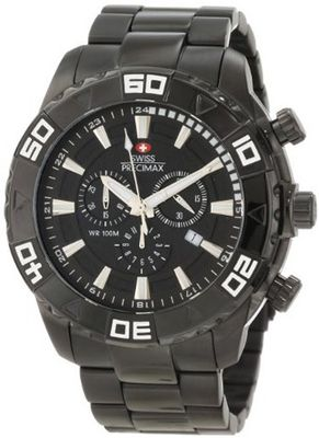 Swiss Precimax SP12053 Valor Elite Black Dial with Black Stainless-Steel Band