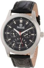 Swistar 3256-5M Bk Dual Time GMT Retrograde Day and Date Stainless Steel