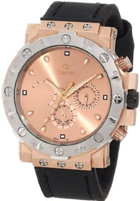 Swistar 3416-1M Gd Swiss Quartz Rose Gold Plated Stainless Steel Dual Time Dress