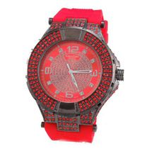 Hip Hop Rubber Band Heavy Duty Ice Out -Red