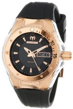 TechnoMarine 110037 Cruise Original Star Rose-Tone Stainless Steel and Black Silicone