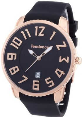 Tendence Gulliver Slim Unisex Quartz with Black Dial Analogue Display and Black Plastic or PU Strap TS151003