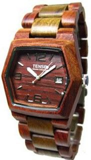 Tense 6-Sided Hexagon Wood Sandalwood/Green Date Window G8300SG DF (Dark Face)