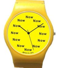 "uThe NOW Watch ""Now"" Is the Time That Is Shown Each Hour on the Yellow Dial of the Yellow Polyurethane Case with Matching Yellow Buckle"