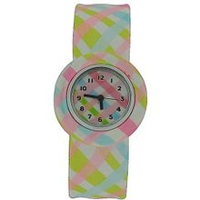 Funky Pastel Criss Cross Design Girls Slap On Analogue Silicone Sports