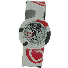 Funky Red & Black Heart Design Girls Slap On Analogue Silicone Sports