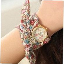 Ladies Self-Tie Yellow Gold Brown & Pink Flower Ribbon Fashion SW-1244