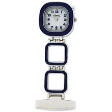 The Olivia Collection Backlight White Dial Blue Square Nurses Fob TOC54
