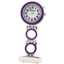 The Olivia Collection Backlight White Dial Purple Nurses Fob TOC51