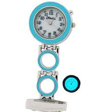 The Olivia Collection Backlight White Dial Sky Blue Nurses Fob TOC50