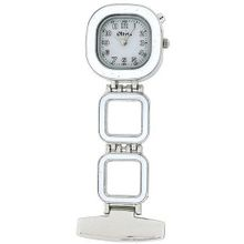 The Olivia Collection Backlight White Dial White Square Nurses Fob TOC53