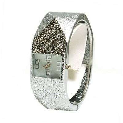 The Olivia Collection Ladies Silver 3D Hexagonal Effect Bangle Fashion