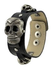 Black Wristband Flip-Up Skull Geneva Gunmetal Dial