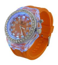 Fluorescent Orange LED Light Up Rave Jelly Band Rhinestone Bezel