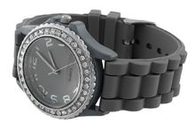 Gray Fashion Jelly with Rhinestone Bezel Silicone Band