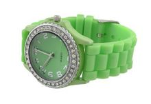 Lime Green Fashion Jelly with Rhinestone Bezel Silicone Band