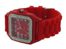 Red `s Square Fashion Jelly Rhinestone Bezel