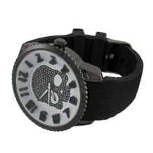 uThings2Die4 Large Skull with White Dial Black Jelly Band