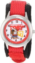 Thomas and Friends Kids' W000723 Stainless Steel Time Teacher Red Velcro Strap